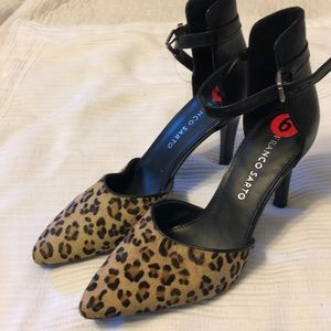 Franco Sarto  Calf Hair Leopard Heel 6 Black Point
